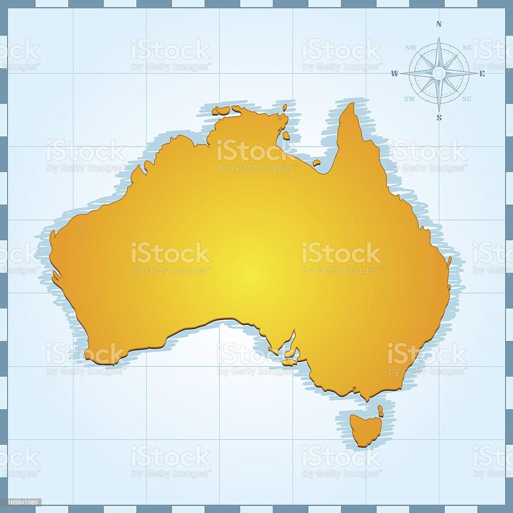 Australia retro map royalty-free stock vector art