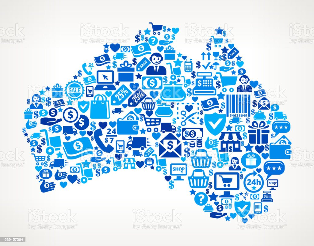 australia Shopping and Commerce Blue Icon Pattern vector art illustration