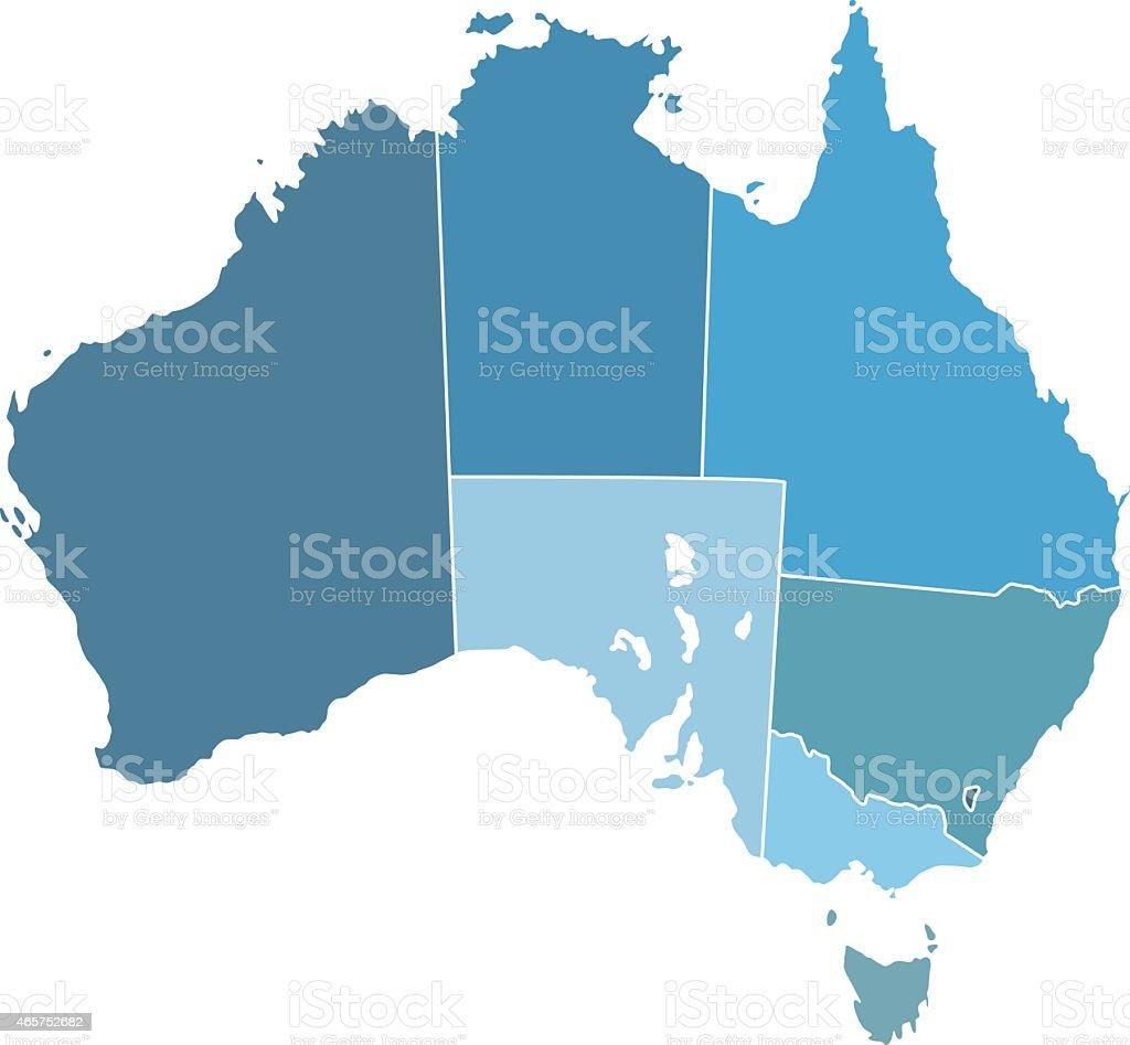 Australia silhouette map vector art illustration