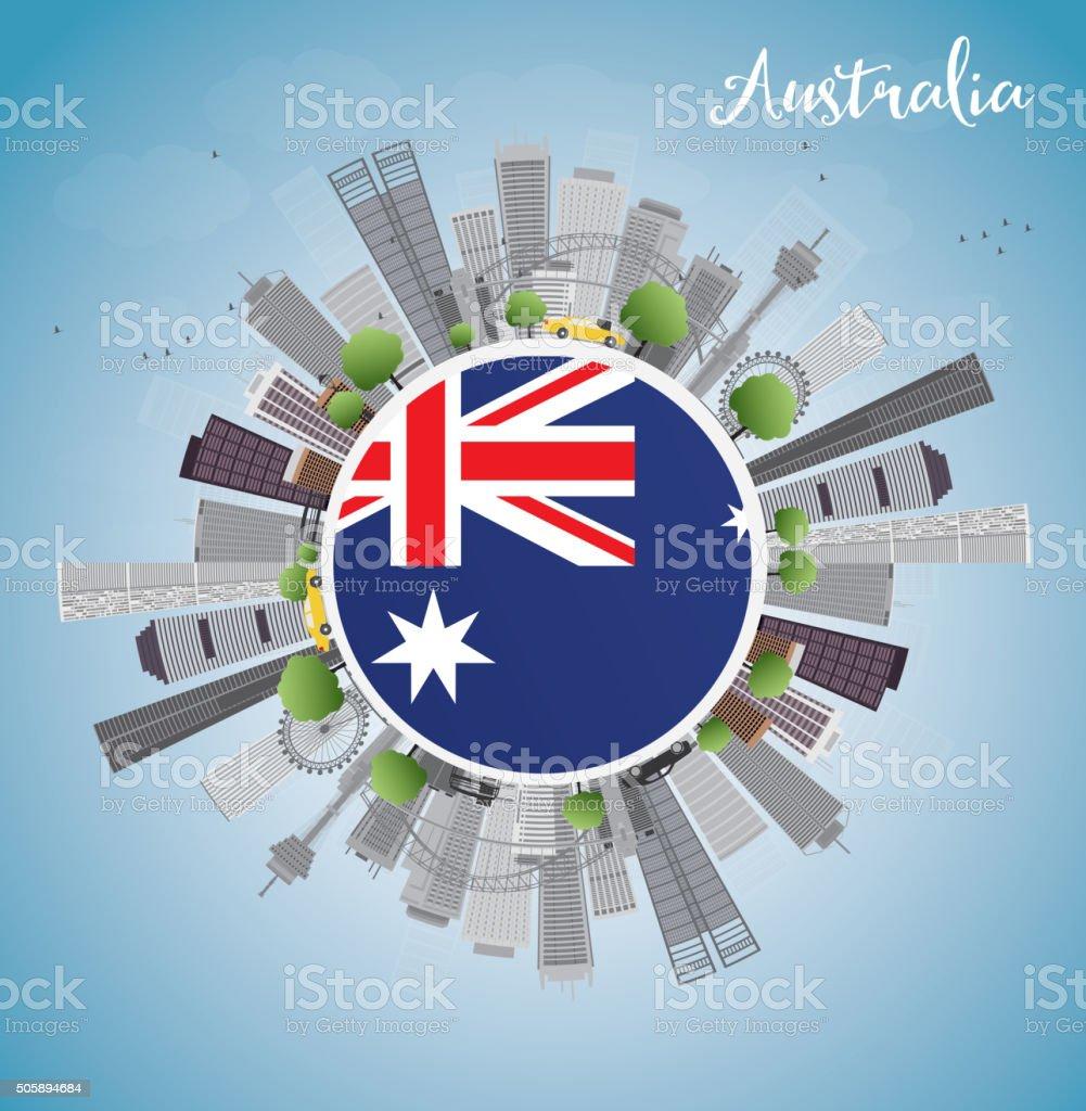 Australia Skyline with Gray Buildings and Blue Sky vector art illustration