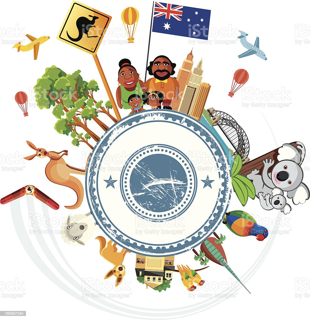 Australia Travel Symbols vector art illustration