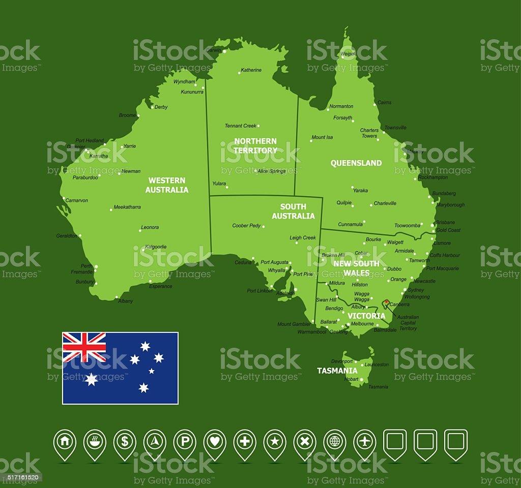 Australia Vector Map vector art illustration