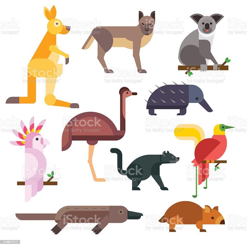 Australia wild animals cartoon vector collection vector art illustration