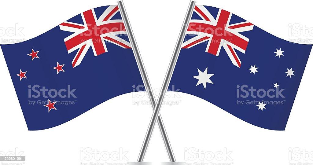 Australian and New Zealand flags. Vector. vector art illustration
