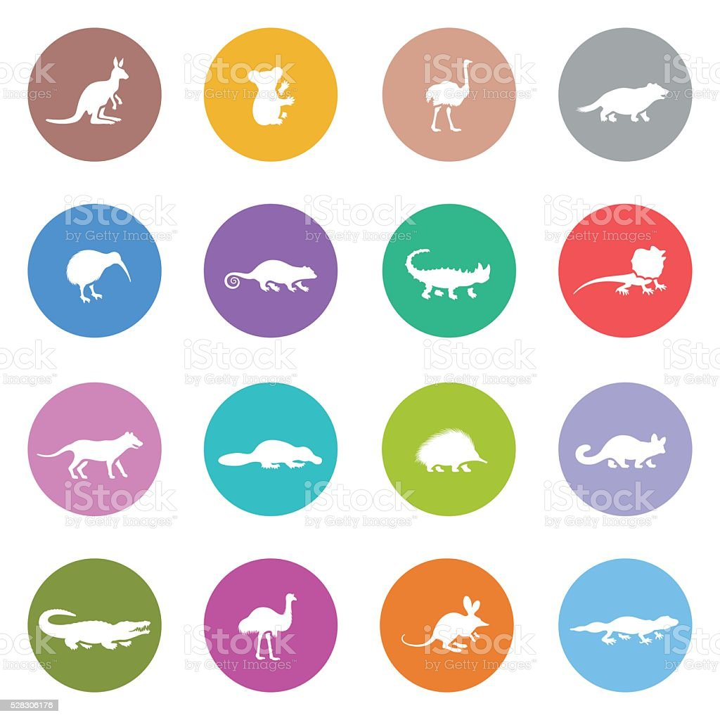 Australian Animal Icon Set vector art illustration