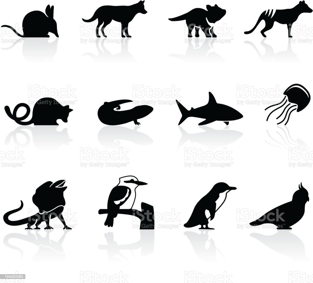 Australian animal icons, set 2 vector art illustration
