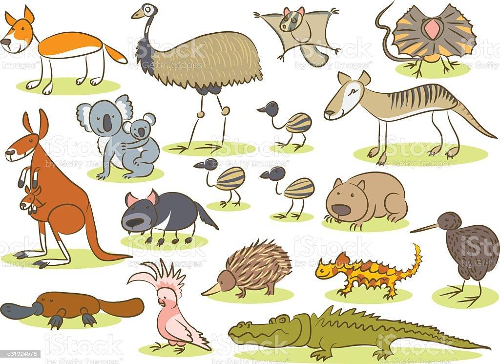 Australian animal kids drawing vector art illustration