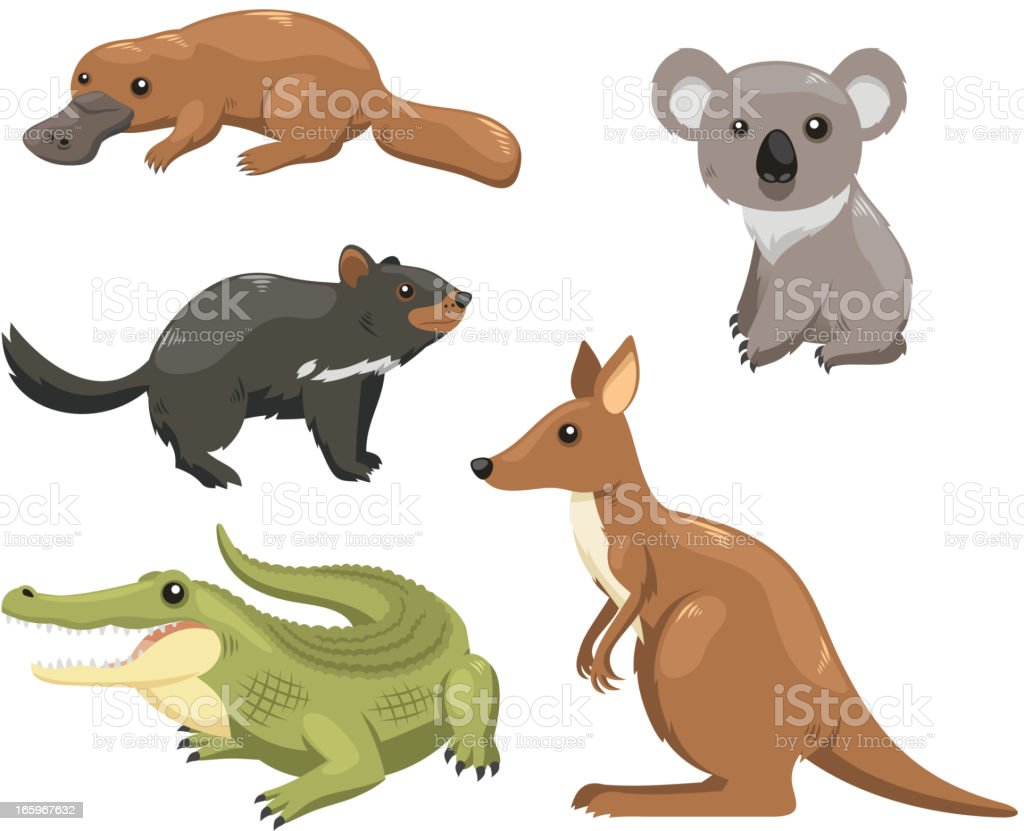 Australian animals 1 vector art illustration