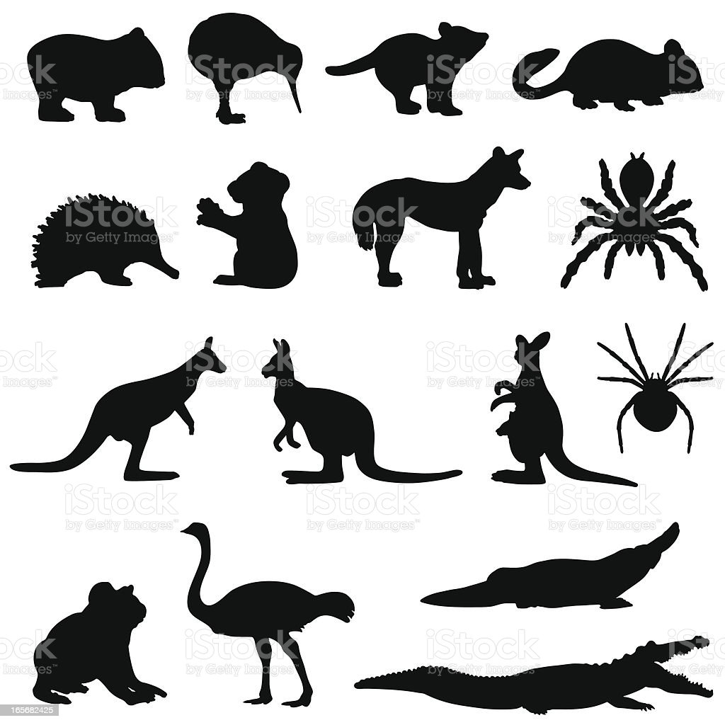 Australian animals silhouette set vector art illustration