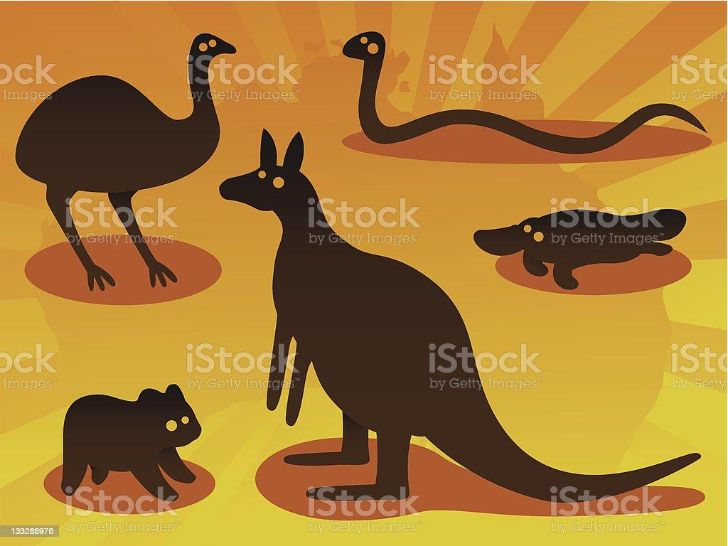 Australian Animals vector art illustration