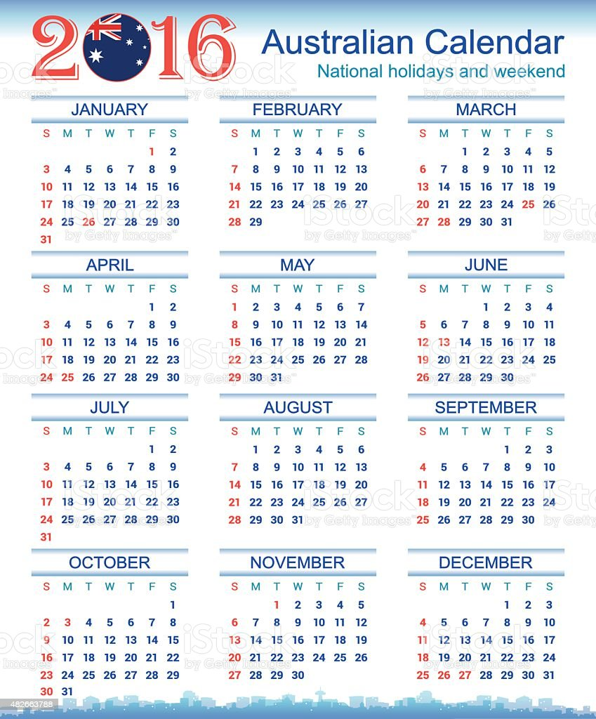 Calendar Australia : Australian calendar stock vector art istock