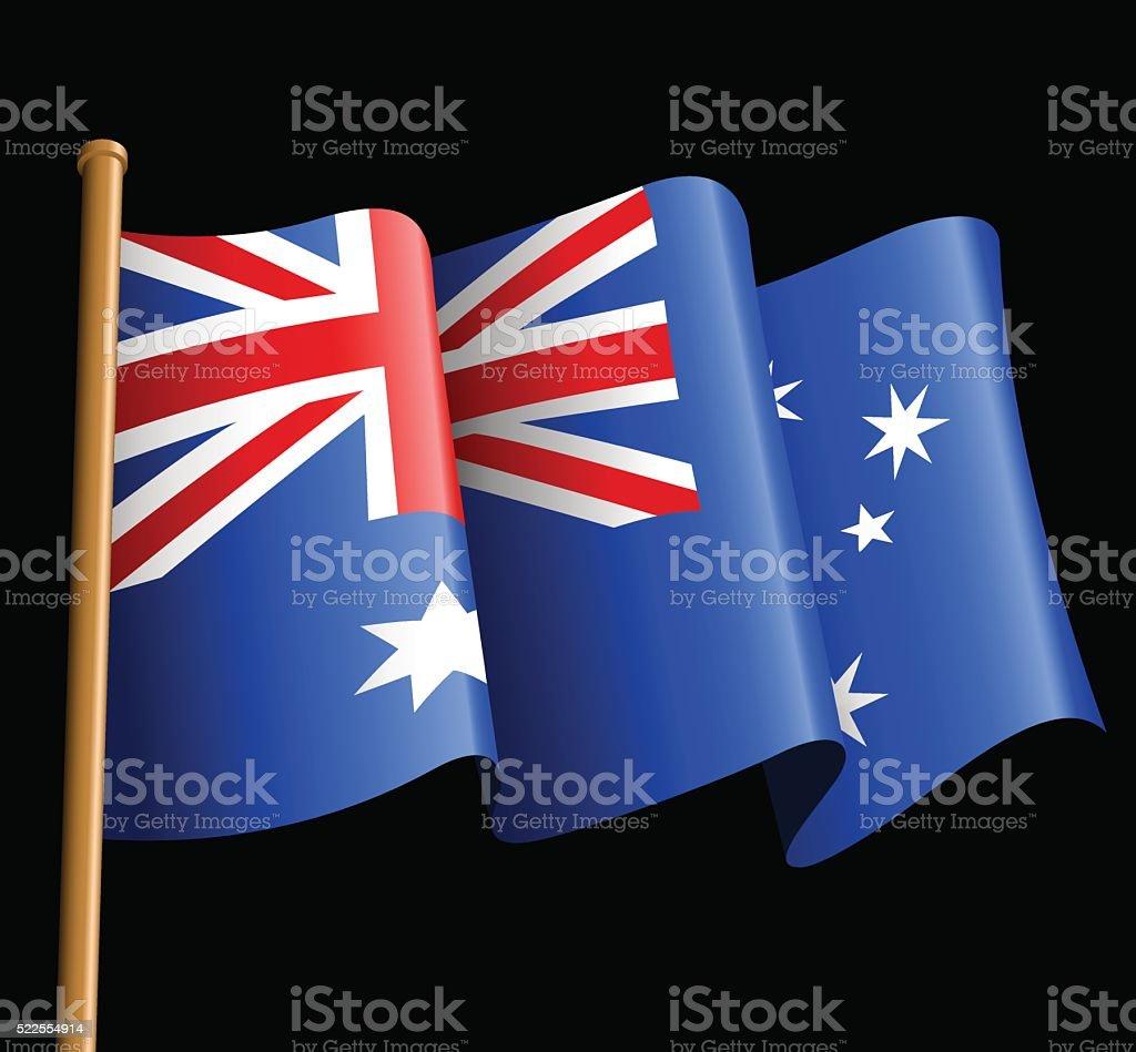 Australian flag illustration on a black background vector art illustration