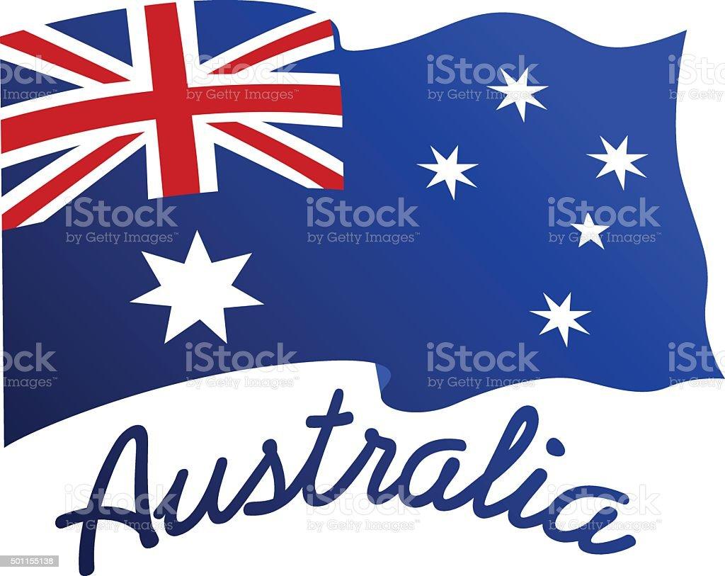 Australian flag in wind with word Australia vector art illustration