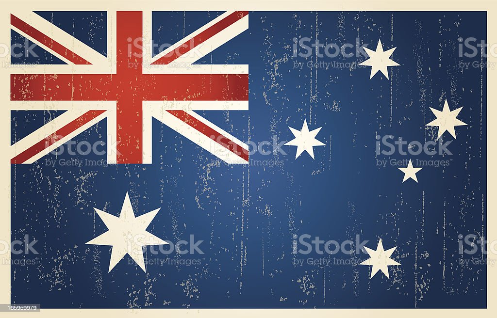 Australian grunge vintage flag vector art illustration