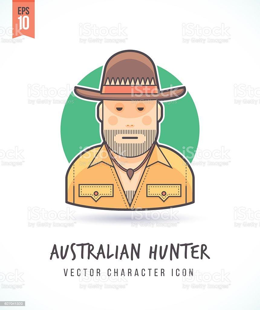 Australian hunter safari illustration vector art illustration