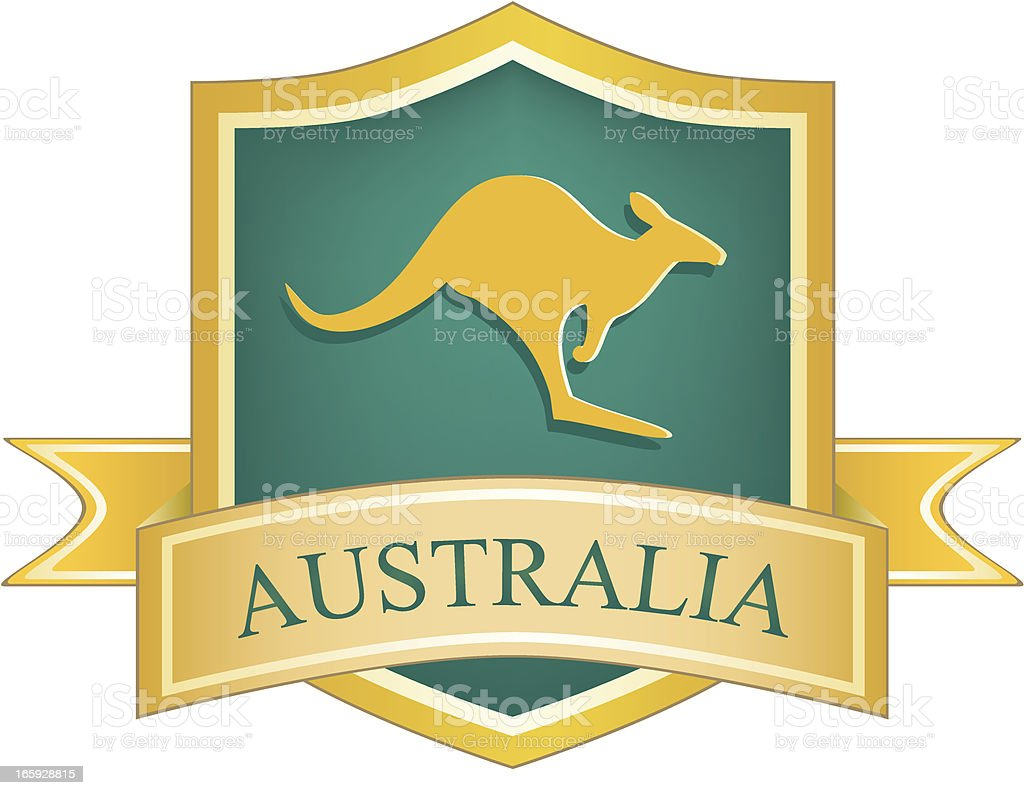 Australian Kangaroo Shield royalty-free stock vector art