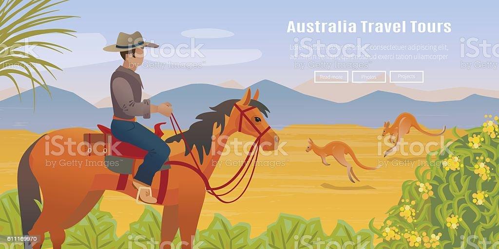 Australian landscape poster vector art illustration