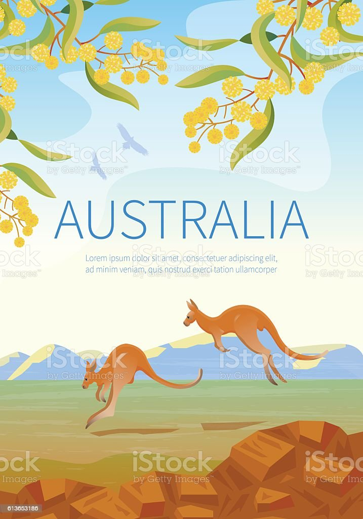 Australian landscape  poster with two Kangaroos. vector art illustration