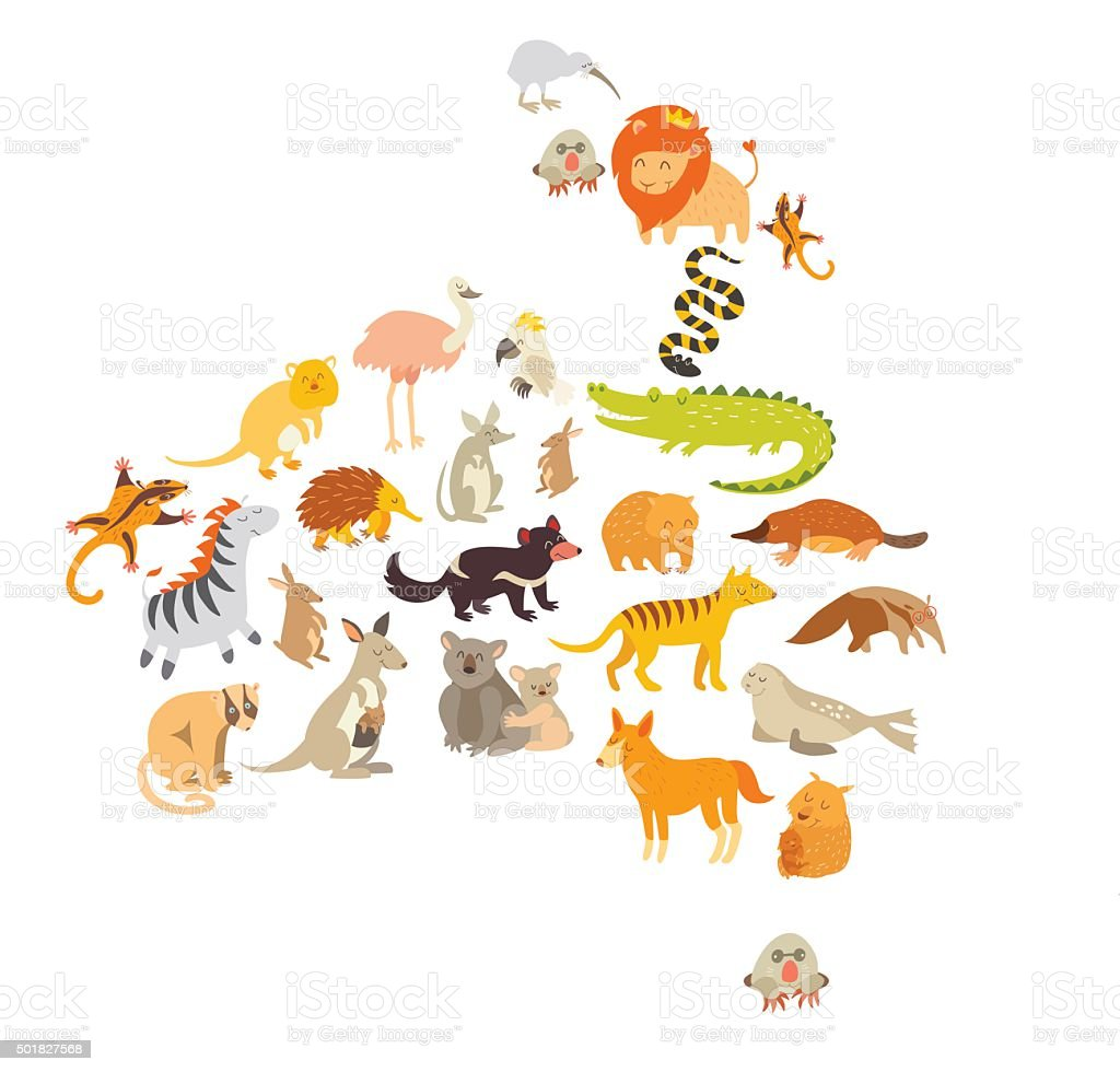 Australian mammal map silhouettes. Isolated on white background vector illustration vector art illustration