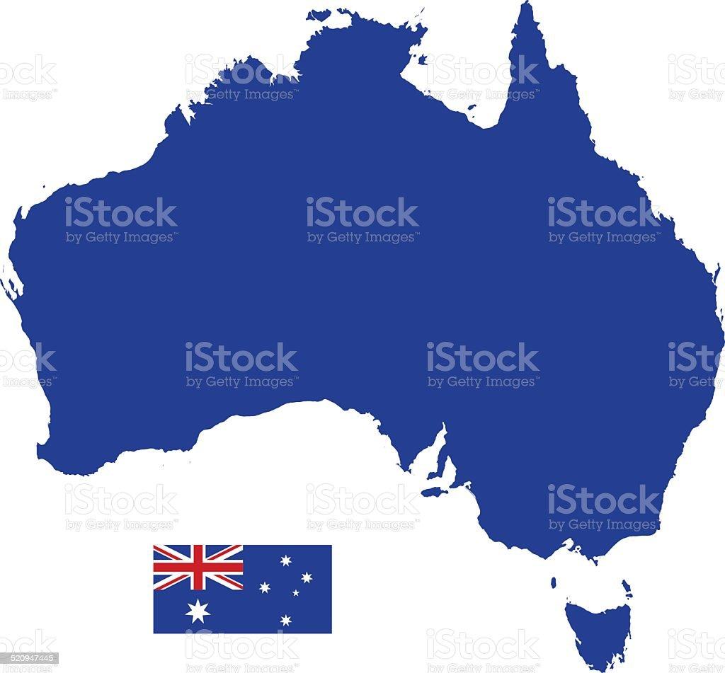 Australian Map silhouette with Flag vector art illustration