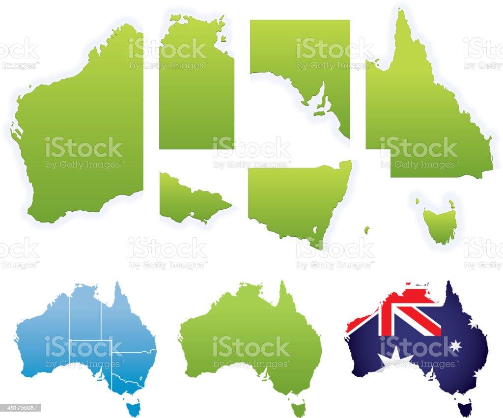 Australian Map & States vector art illustration