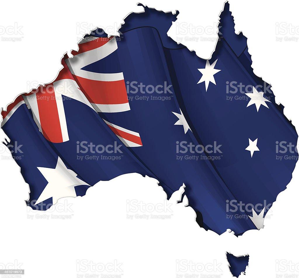 Australian Map-Flag vector art illustration