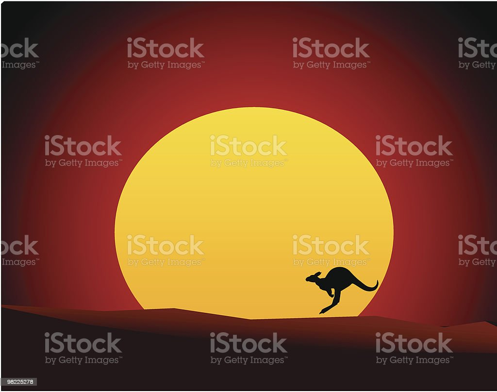 Australian Outback Sunset with Kangaroo/Wallaby (Vector Illustration) royalty-free stock vector art