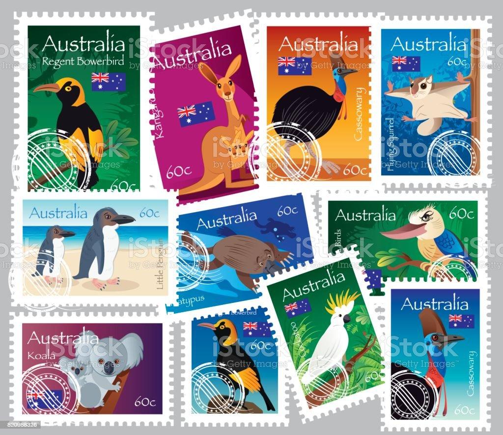 Australian Stamps vector art illustration