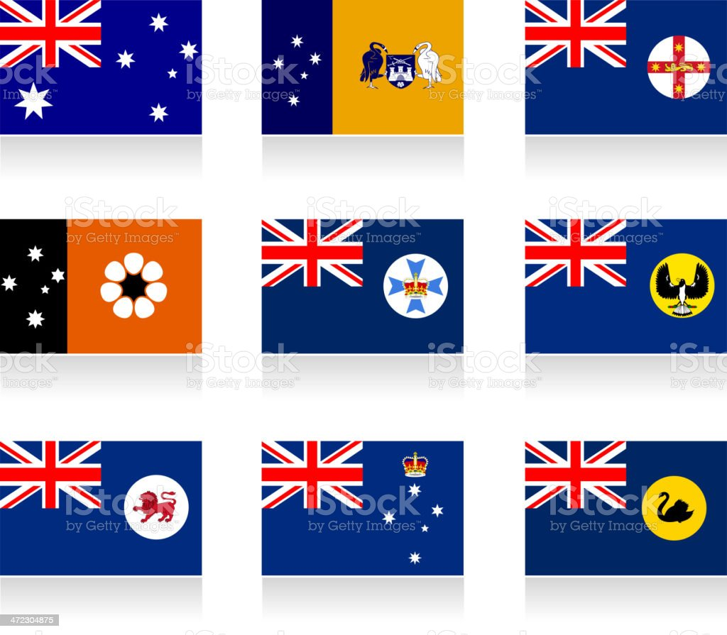 Australian states and mainland territories flag collection vector art illustration