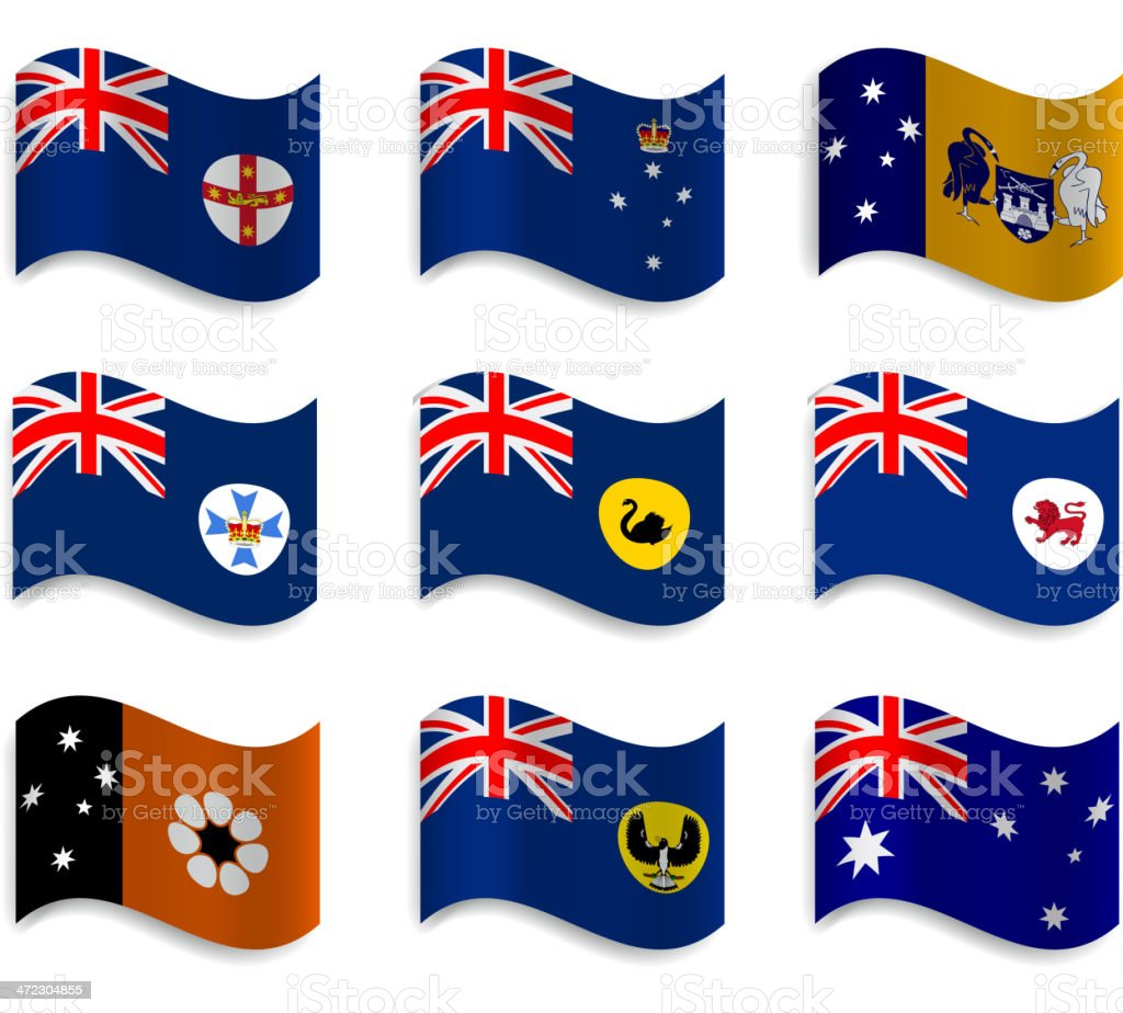 Australian states and mainland territories, waving flag collection vector art illustration