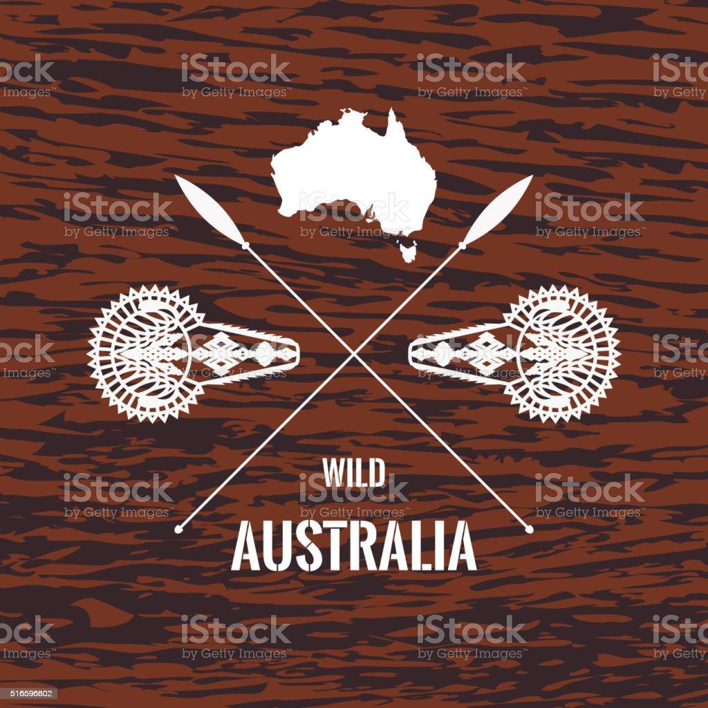 Australian symbols on wooden texture vector art illustration