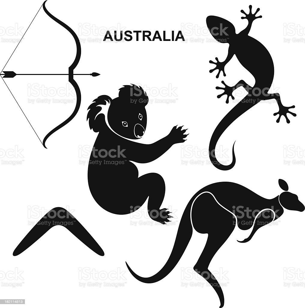 Australian Symbols vector art illustration
