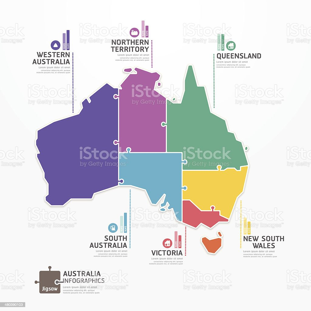 Australian territories shaped like puzzle pieces vector art illustration