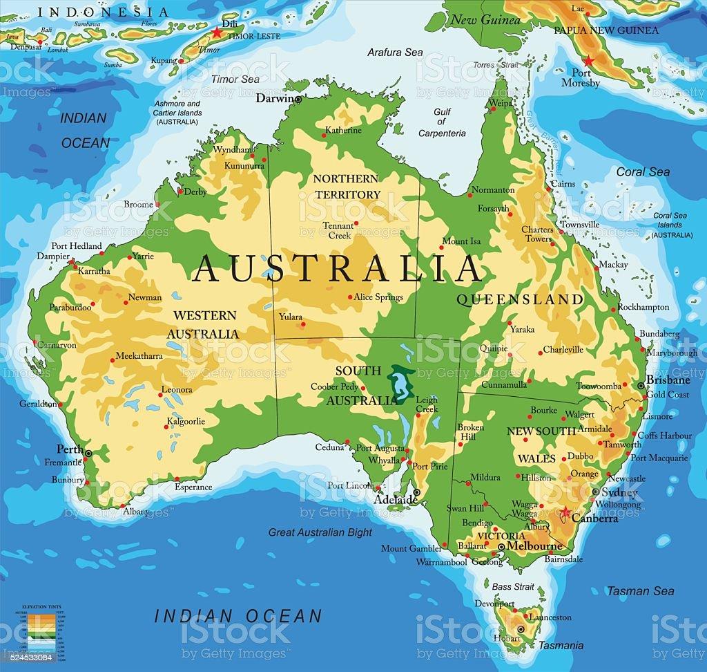 Australia-physical map vector art illustration