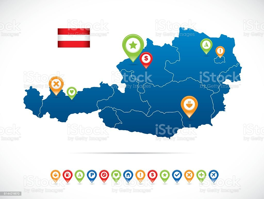 Austria Blue Map vector art illustration