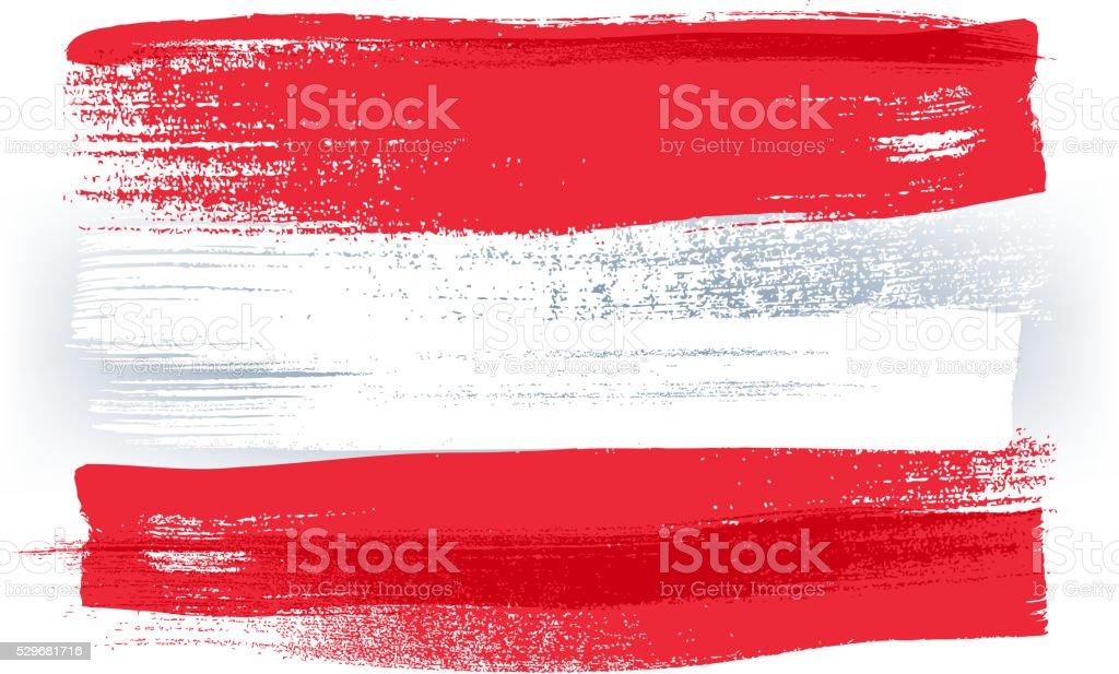 Austria colorful brush strokes painted flag vector art illustration