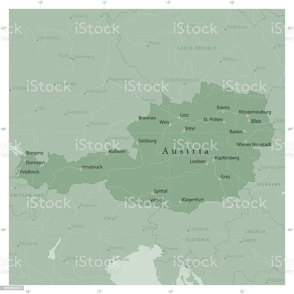 Austria Country Vector Map Olive Green vector art illustration