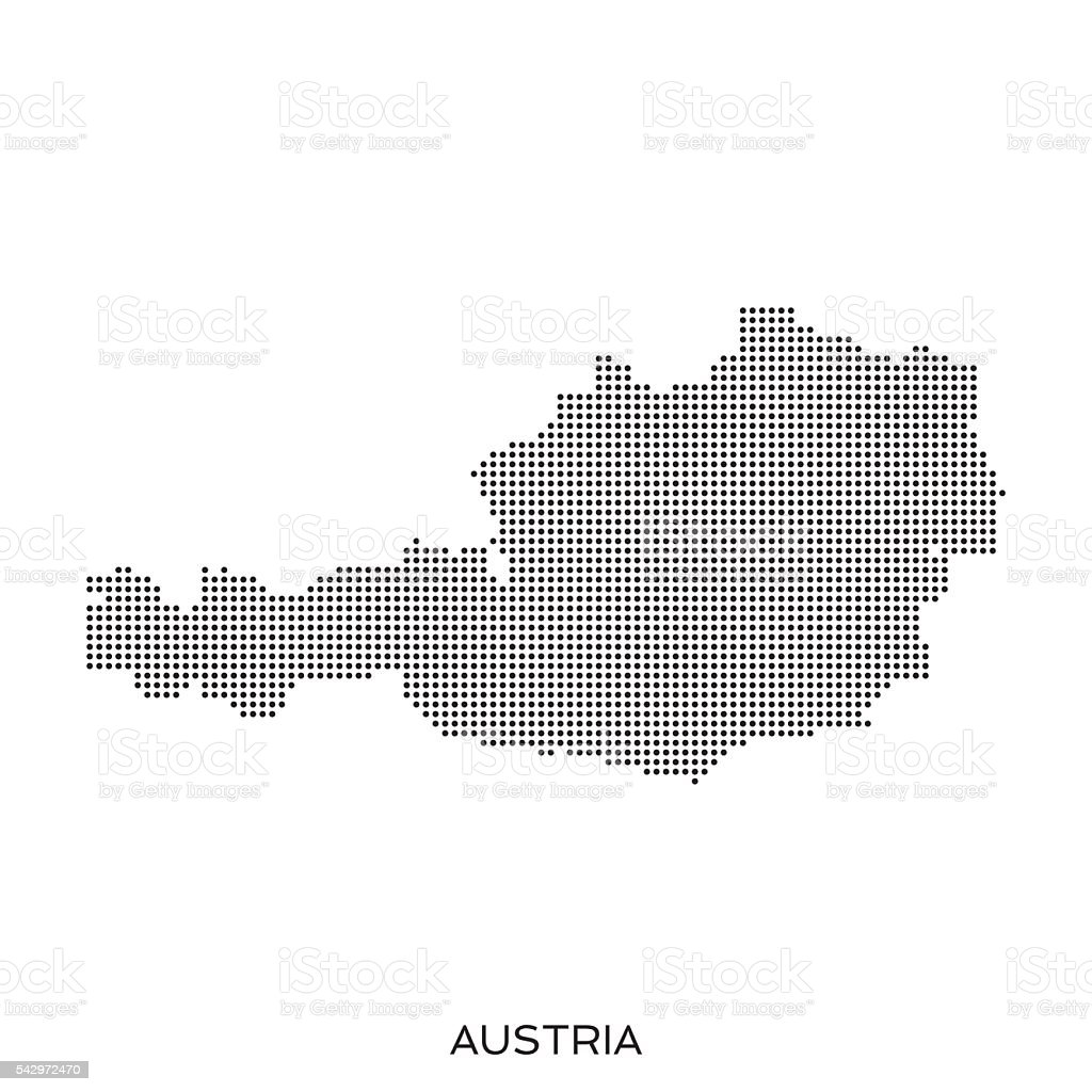 Austria dot halftone pattern map vector art illustration