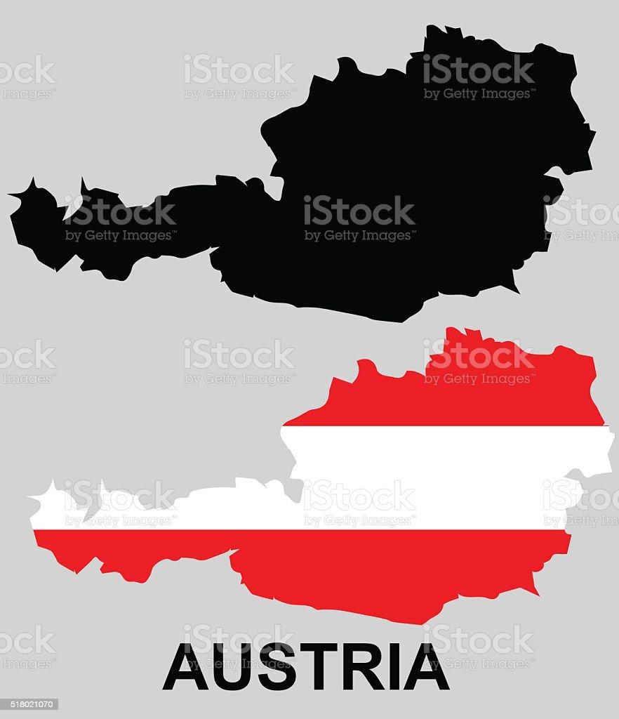 Austria - flag and borderline. vector art illustration