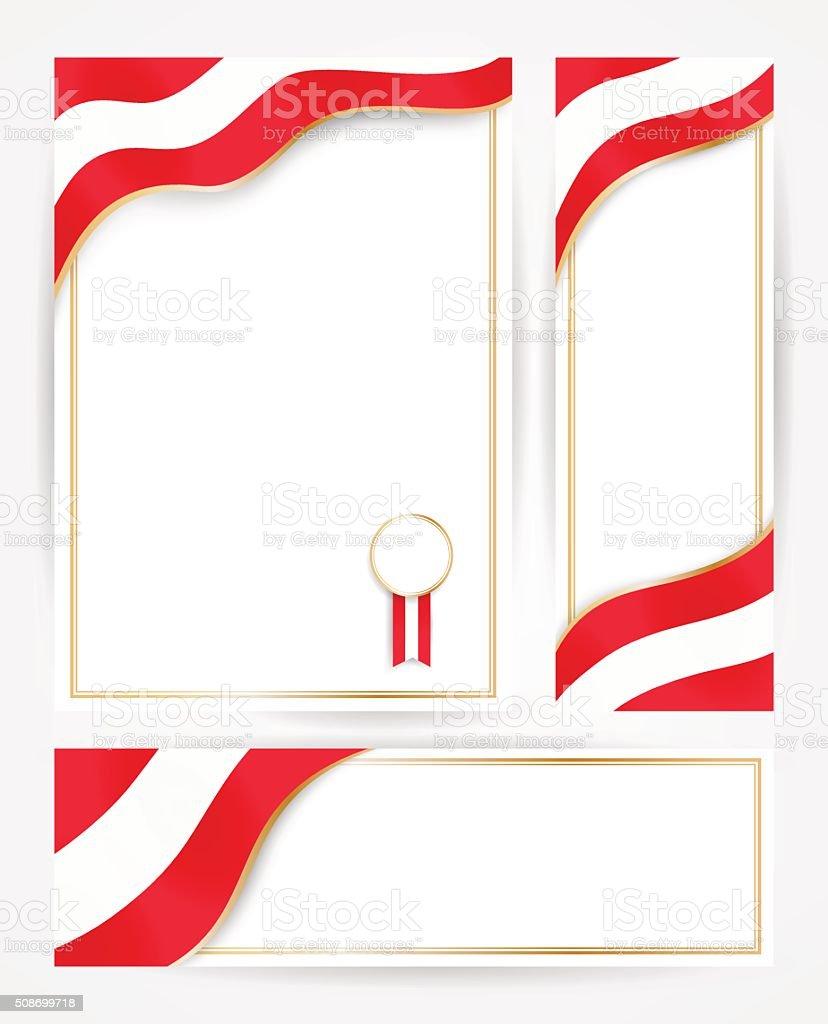 Austria flag banners set. Design templates for flyers, posters, vector art illustration