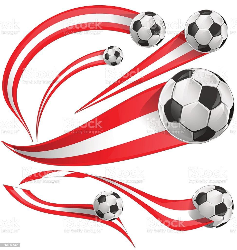 austria flag  set with soccer ball vector art illustration