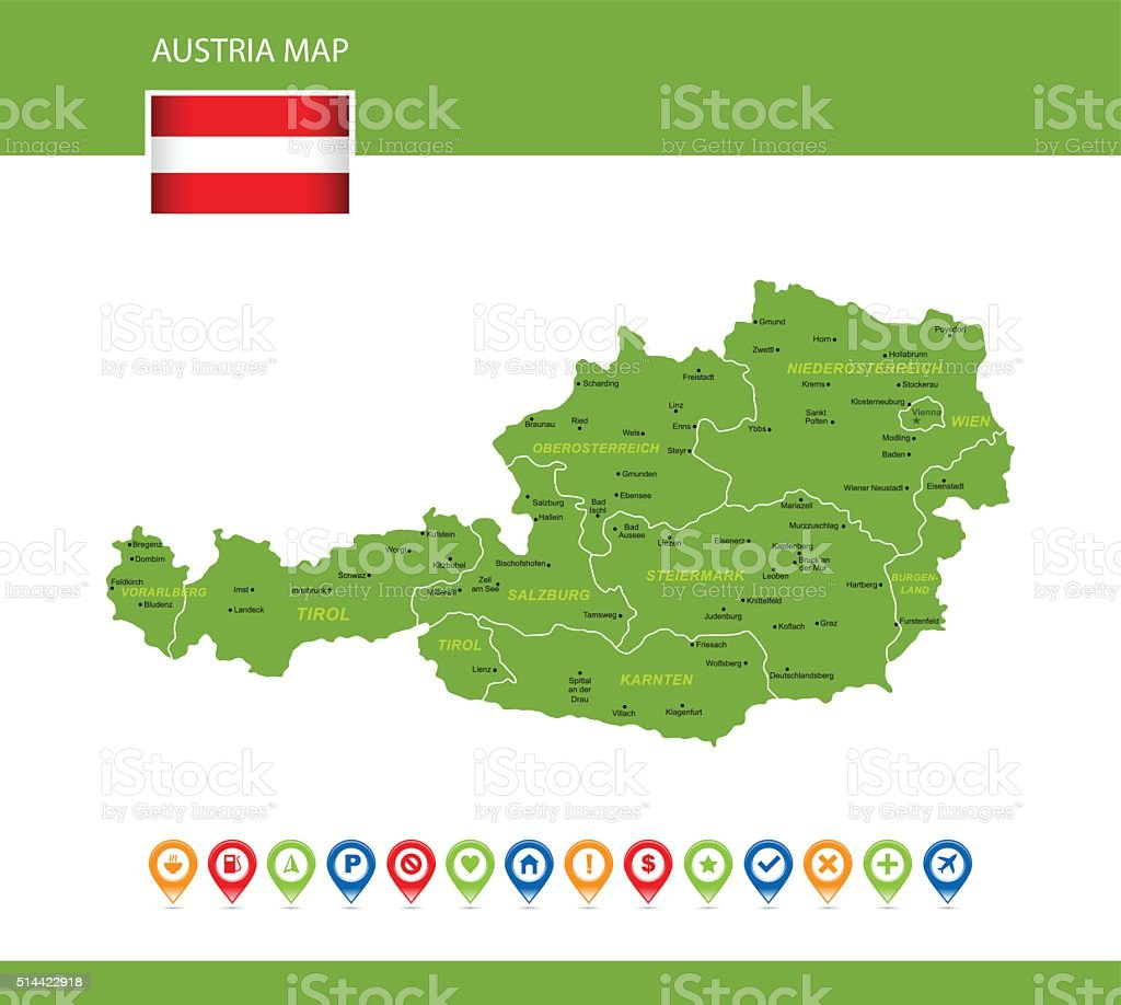 Austria Green Map vector art illustration