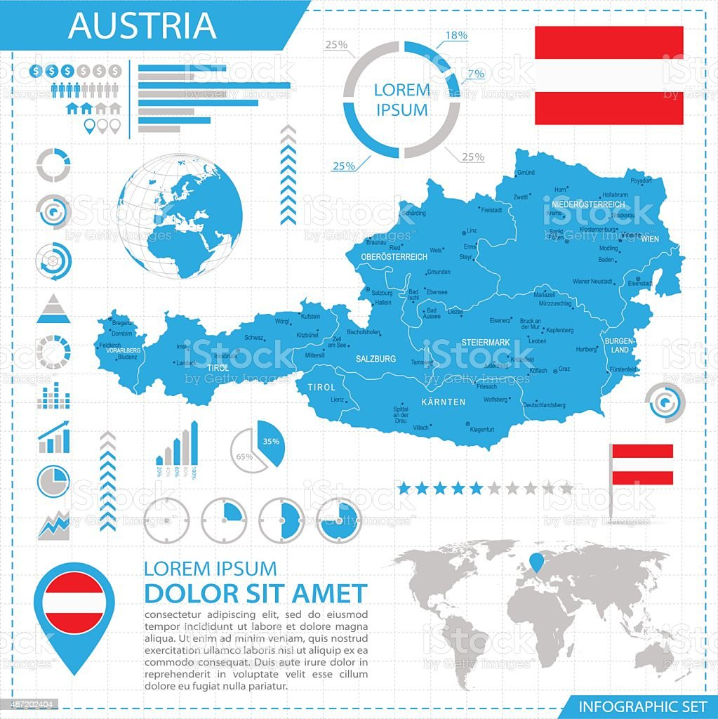 Austria - infographic map - Illustration vector art illustration