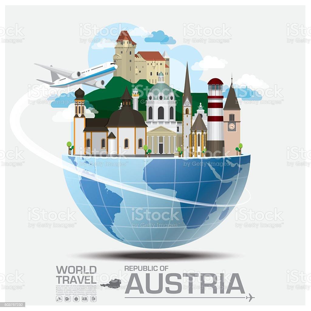 Austria Landmark Global Travel And Journey Infographic vector art illustration