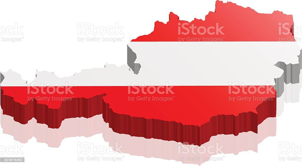 austria map 3d vector art illustration