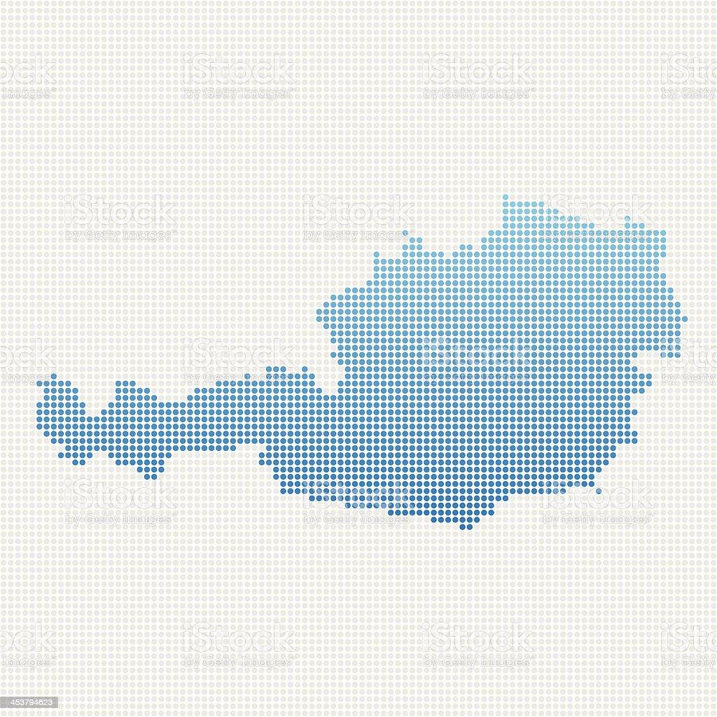 Austria Map Blue Dot Pattern royalty-free stock vector art