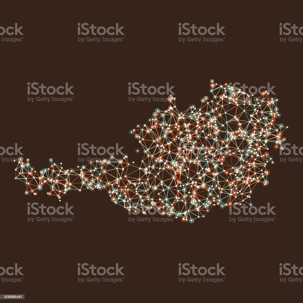 Austria Map Network Mesh vector art illustration