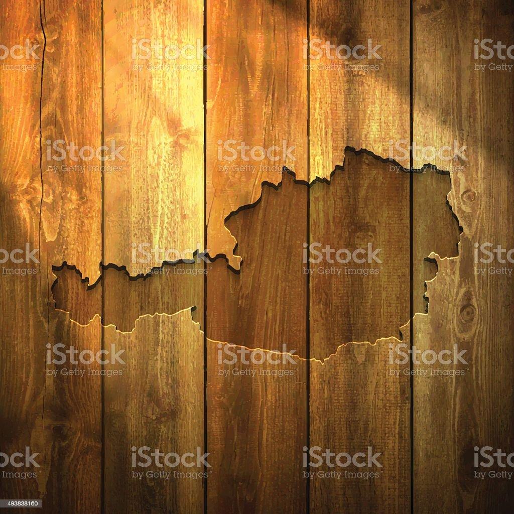 Austria Map on lit Wooden Background vector art illustration