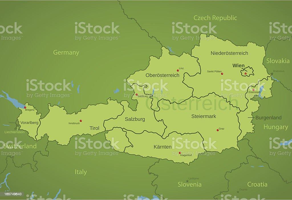 Austria Map showing states vector art illustration