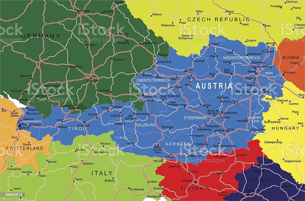 Austria map royalty-free stock vector art